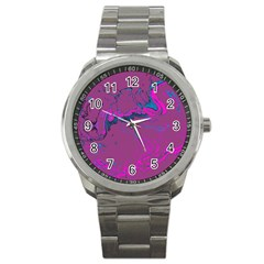 Unique Marbled 2 Hot Pink Sport Metal Watches