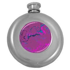 Unique Marbled 2 Hot Pink Round Hip Flask (5 oz)
