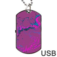 Unique Marbled 2 Hot Pink Dog Tag USB Flash (One Side)