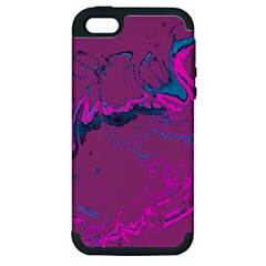 Unique Marbled 2 Hot Pink Apple iPhone 5 Hardshell Case (PC+Silicone)