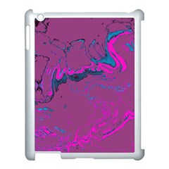 Unique Marbled 2 Hot Pink Apple iPad 3/4 Case (White)