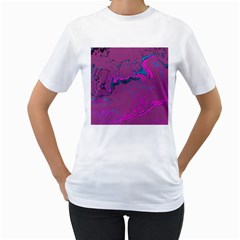 Unique Marbled 2 Hot Pink Women s T-Shirt (White)