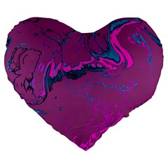 Unique Marbled 2 Hot Pink Large 19  Premium Flano Heart Shape Cushions