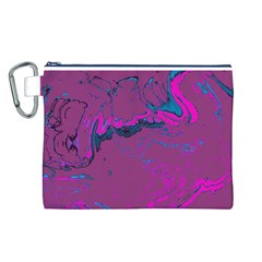 Unique Marbled 2 Hot Pink Canvas Cosmetic Bag (L)