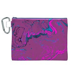 Unique Marbled 2 Hot Pink Canvas Cosmetic Bag (XL)
