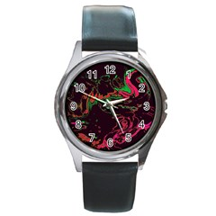 Unique Marbled 2 Tropic Round Metal Watches