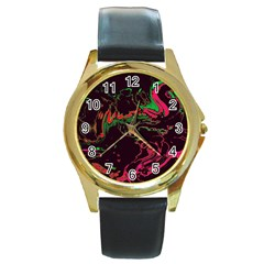 Unique Marbled 2 Tropic Round Gold Metal Watches
