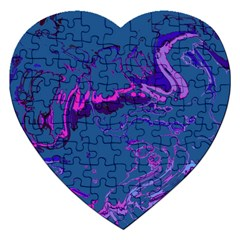 Unique Marbled 2 Blue Jigsaw Puzzle (Heart)