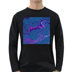 Unique Marbled 2 Blue Long Sleeve Dark T Shirts