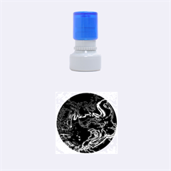 Unique Marbled 2 Blue Rubber Round Stamps (Small)