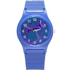 Unique Marbled 2 Blue Round Plastic Sport Watch (S)