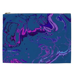 Unique Marbled 2 Blue Cosmetic Bag (XXL)
