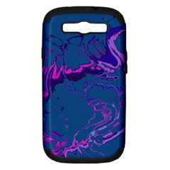 Unique Marbled 2 Blue Samsung Galaxy S III Hardshell Case (PC+Silicone)