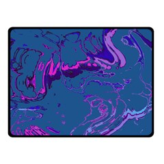 Unique Marbled 2 Blue Double Sided Fleece Blanket (Small)