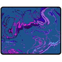 Unique Marbled 2 Blue Double Sided Fleece Blanket (Medium)