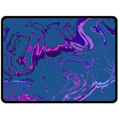 Unique Marbled 2 Blue Double Sided Fleece Blanket (Large)