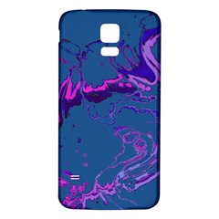 Unique Marbled 2 Blue Samsung Galaxy S5 Back Case (White)