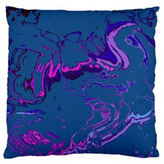Unique Marbled 2 Blue Large Flano Cushion Cases (two Sides)