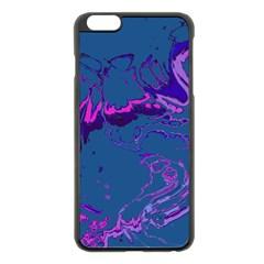 Unique Marbled 2 Blue Apple iPhone 6 Plus/6S Plus Black Enamel Case