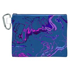 Unique Marbled 2 Blue Canvas Cosmetic Bag (XXL)