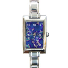 Unique Marbled Blue Rectangle Italian Charm Watches