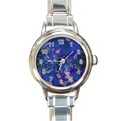 Unique Marbled Blue Round Italian Charm Watches