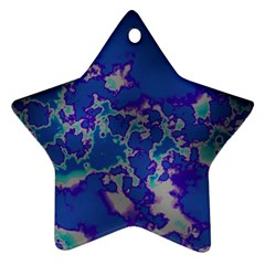 Unique Marbled Blue Ornament (star)