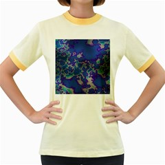 Unique Marbled Blue Women s Fitted Ringer T Shirts