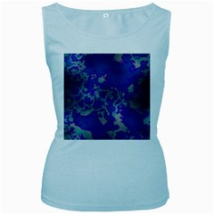 Unique Marbled Blue Women s Baby Blue Tank Tops