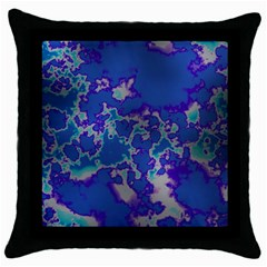 Unique Marbled Blue Throw Pillow Cases (black)
