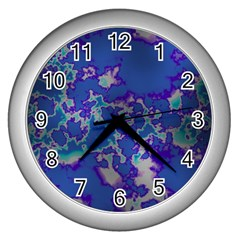 Unique Marbled Blue Wall Clocks (silver)