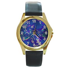 Unique Marbled Blue Round Gold Metal Watches