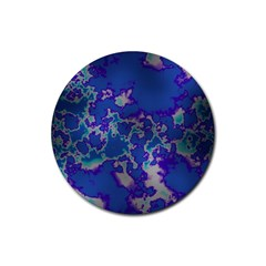 Unique Marbled Blue Rubber Round Coaster (4 Pack)