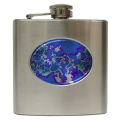 Unique Marbled Blue Hip Flask (6 Oz)
