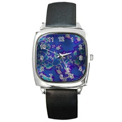 Unique Marbled Blue Square Metal Watches