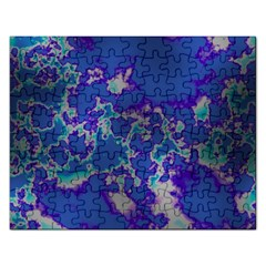 Unique Marbled Blue Rectangular Jigsaw Puzzl