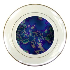 Unique Marbled Blue Porcelain Plates