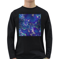 Unique Marbled Blue Long Sleeve Dark T Shirts