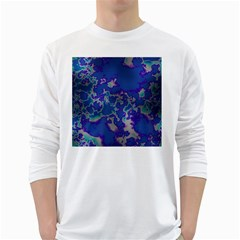 Unique Marbled Blue White Long Sleeve T Shirts
