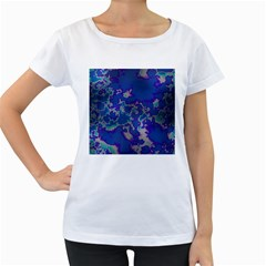 Unique Marbled Blue Women s Loose Fit T Shirt (white)
