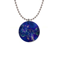 Unique Marbled Blue Button Necklaces