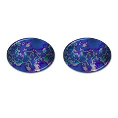 Unique Marbled Blue Cufflinks (oval)