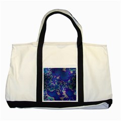 Unique Marbled Blue Two Tone Tote Bag
