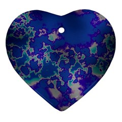 Unique Marbled Blue Heart Ornament (2 Sides)