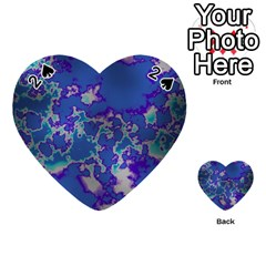 Unique Marbled Blue Playing Cards 54 (Heart)