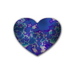 Unique Marbled Blue Rubber Coaster (heart)