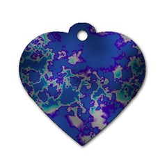 Unique Marbled Blue Dog Tag Heart (two Sides)