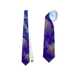 Unique Marbled Blue Neckties (one Side)