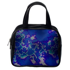 Unique Marbled Blue Classic Handbags (one Side)