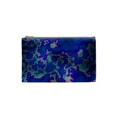 Unique Marbled Blue Cosmetic Bag (small)